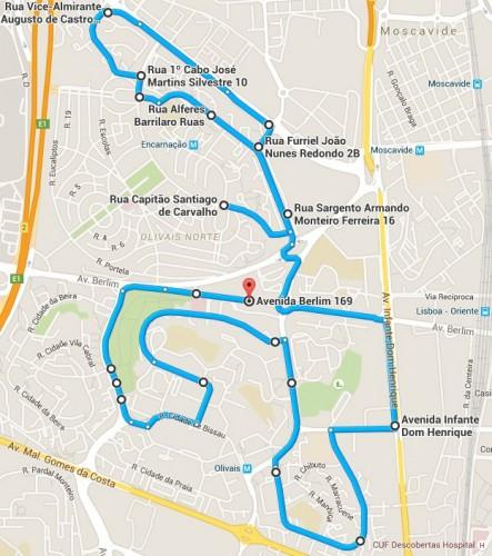 A corrida tem partida na Junta de Freguesia de Olivais; Rua Capitão  Santiago de Carvalho; Rua Sargento Armando Monteiro Ferreira; Rua Alferes  Barrilaro Ruas ...
